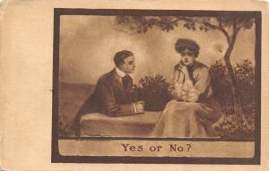 Lou Mayer~Yes or No? Romantic Couple~Man on Bended Knee~Lady Under Tree~1908 PC