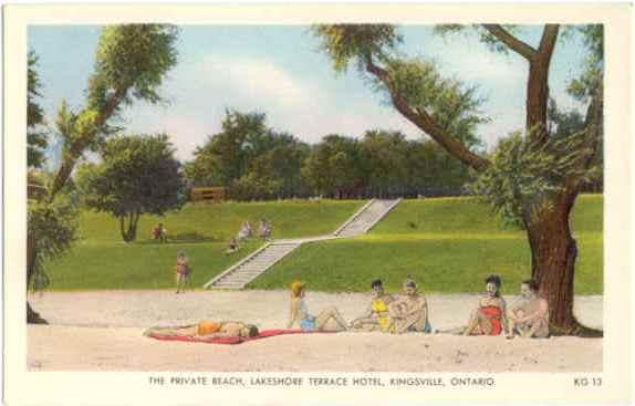 The Private Beach, Lakeshore Terrace Hotel, Kingsville, Ontario, White Border