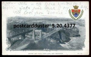 4377 - ST. JOHN NB Postcard 1905 Bridges & Falls. Patriotic Crest