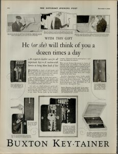 1924 Buxton Key Tainer He or She Will Think of You All Day Vintage Print Ad 3948