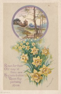 Yellow EASTER LIlly Flowers  , 1900-10s ; Clapsaddle