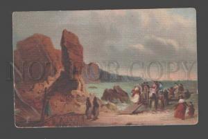086382 RURAL Life Meeting of Fishermen Vintage color PC