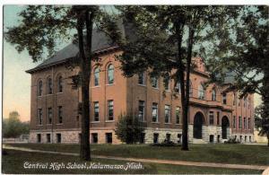 1910 KALAMAZOO Michigan Mich Postcard CENTRAL HIGH SCHOOL