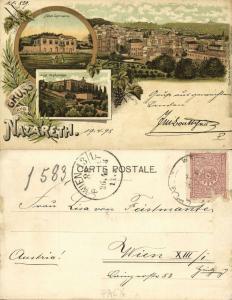 ottoman palestine israel, NAZARETH, Multiview, Hotel Germania, Orphanage (1898)