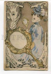 299391 ART NOUVEAU Gaston NOURY Lady MIRROR Vintage postcard