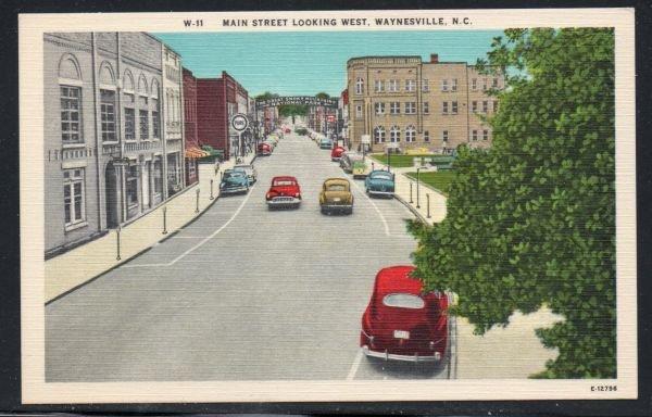 North Carolina colour PC  Main Street Looking West, Waynesville,  N.C.  unused