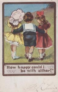Schoolboy On Date Double Dating Choice Romance Embrace Cuddle Old Postcard