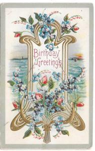 Birthday Greetings Roses Forget Me Nots Vintage Postcard