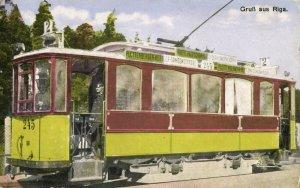 latvia russia, RIGA, Street Car Line 2 Tram (1910s) Gruss Aus Postcard