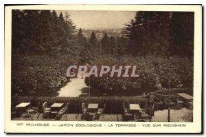 Old Postcard Mulhouse Zoological Garden Terrace overlooking Riedisheim