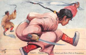 Tibet Native Dance Sword Kata Tuck Antique Postcard K46106