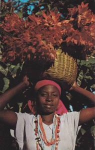 Young Haitian Flower Vendor carrying basket on head, Peton-Ville, Haiti, West...