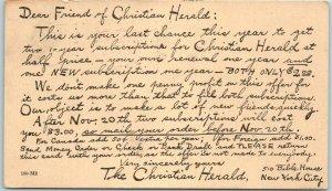 1926 Advertising Postcard Dear Friend of CHRISTIAN HERALD Religious Newspaper