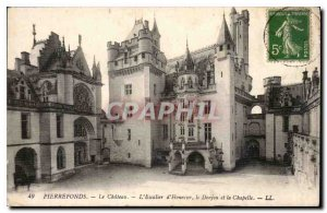Old Postcard Pierrefonds Chateau L'Honor Staircase Dungeon and the Chapel