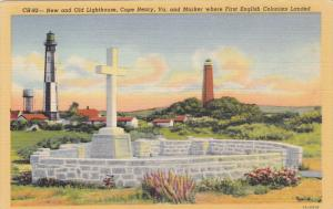 CAPE HENRY, Virginia, 1930-1940´s; New And Old Lighthouse And Marker Where F...