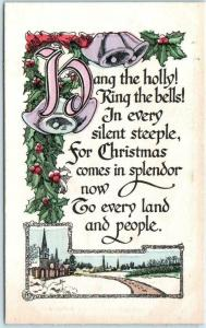 Arts and Crafts ~ Handcolored CHRISTMAS comes in Splendor ca 1910s  Postcard