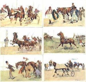 Fritz Sconpflug , Series B.K.W.I. 678, Horse Racing 6 Card Set Unused