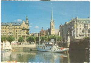 Sweden, Stockholm, Djurgardsbron Oscarskyrkan i bakgrunden, 1989 used Postcard