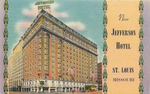 St Louis Missouri~Artist Narrow-Faced Bird Design~Jefferson Hotel 1951 Postcard