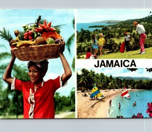 Jamaica Fruit Vendor Beach Scene & Golfing