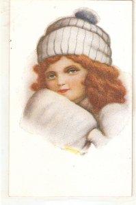 J. Ibañez. Head of a girl. Cabeza de niña Lovely Spanish postcard 1920s