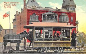 Ontario CA Horse Drawn Trolley in 1895 Postcard