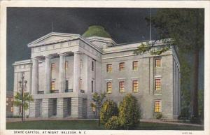 State Capitol At Night Raleigh North Carolina 1932 Curteich
