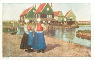 Amsterdam Netherlands young Dutch girls Marken Holland traditional dressPostcard