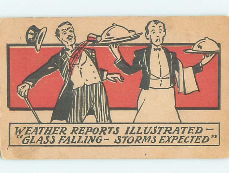 Pre-1907 comic WAITER SPILLS BEVERAGE GLASS ONTO MAN IN SUIT HL2095