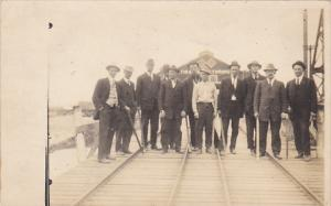 Railroad Workers In Front Of Manufacturing Plant Real Photo
