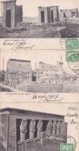 Temple Of Debod Denderah Louxor 3x Old Egypt Postcard s