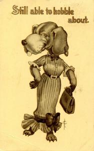 Humor - Still able to hobble about (Sporty Dog Series).  Artist: Fred Cavally