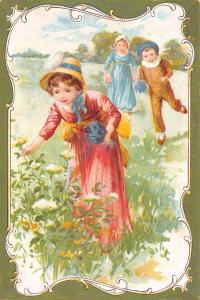 Aux Jumeaux~Clothing & Hats For Children~Kids in Meadow~Art Nouveau c1900 French
