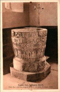 Norman Font Lullington Church Early Norman Postcard unused (25780)