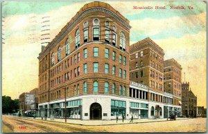 Norfolk, Virginia Postcard MONTICELLO HOTEL Downtown Street View / 1910 Cancel