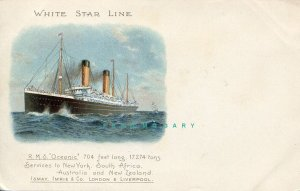 Circa-1902 White Star Line Ship Postcard: RMS Oceanic Detailing Ports of Call