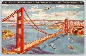 San Francisco CA~Golden Gate Bridge @ Treasure Island~1940 GGIE~Art Deco Linen