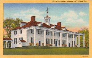 Washington's Mansion, Mt. Vernon, Virginia, Early Linen Postcard, Unused