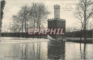 Old Postcard Chateau d'Anet E and L Waterfall and Aries
