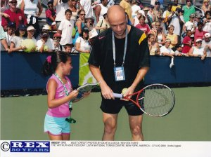 Andre Agassi at the Arthur Ashe Tennis Kids Day New York 2004 Press Photo