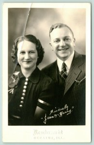 Decatur IL~Green Mountain Cough Syrup Ad~Bradford Couple~1930s Rembrandt RPPC