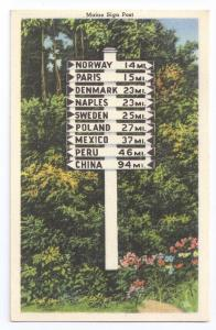 Maine Signpost 1940 Tichnor Linen