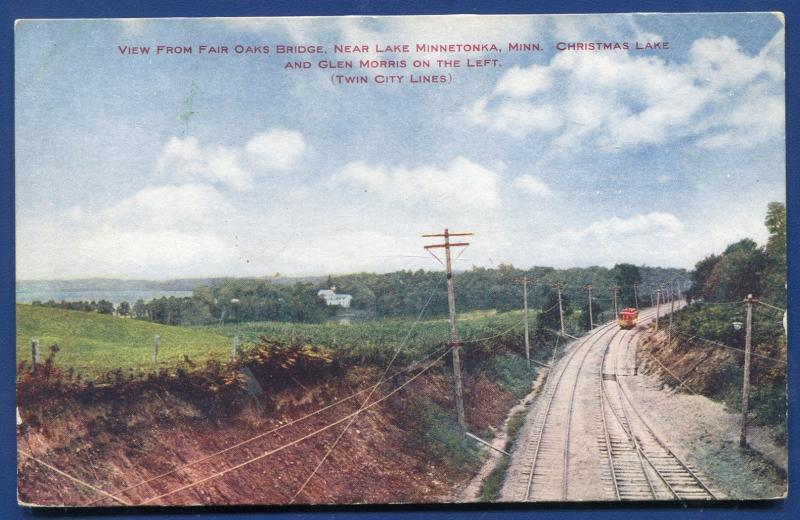 Lake Minnetonka MinnesotaTwin City Railway Lines Trolley Christmas Lake postcard
