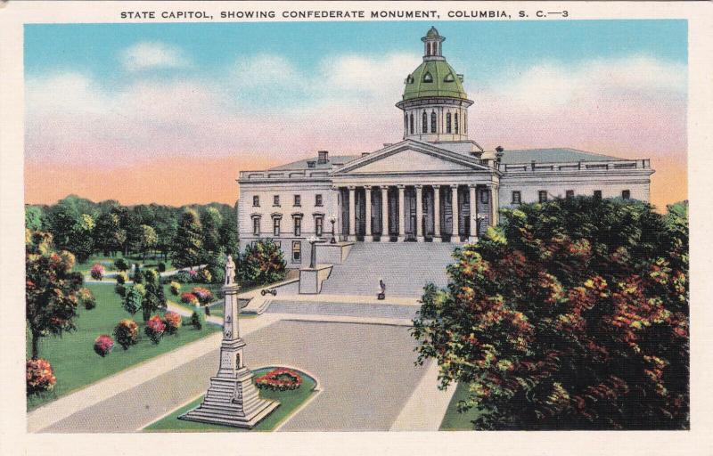 COLUMBIA , South Carolina , 1910-20s ; State Capitol w/CSA Monument
