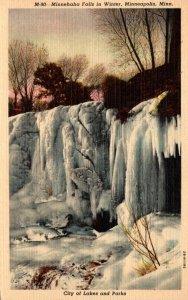 Minnesota Minneapolis Minnehaha Falls In Winter Curteich