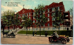 Kansas City, Missouri Postcard ST. MARY'S HOSPITAL Building / Street View 1914