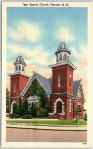 Chester, South Carolina Postcard First Baptist Church Street View Linen 1940s