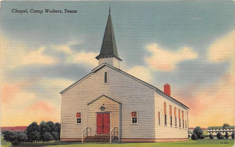 US Army Camp Wolters Chapel~near Mineral Wells Texas~Vintage Linen Postcard