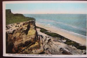 Bluffs and Beach, Highland light, Cape Cod Massachusetts-E.D West Co. South Yarm