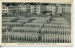 FORT TRUMBULL CONNECTICUT US ARMY BASE TROOPS POSTCARD B&W